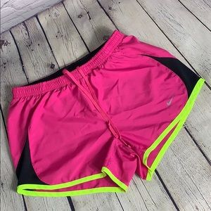Nike Women's XS Pink and Neon Yellow Shorts
